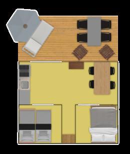 Plattegrond bungalowtent
